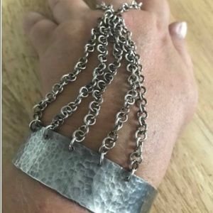 "Jewelry - ""Handflower"" or ""slave bracelet"" sterling silver"